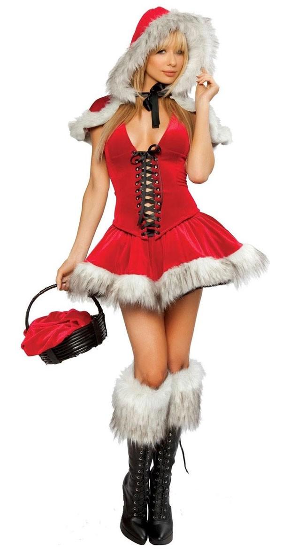 cb666be9251b Rød Nissepige Kostume Frække Julekjole