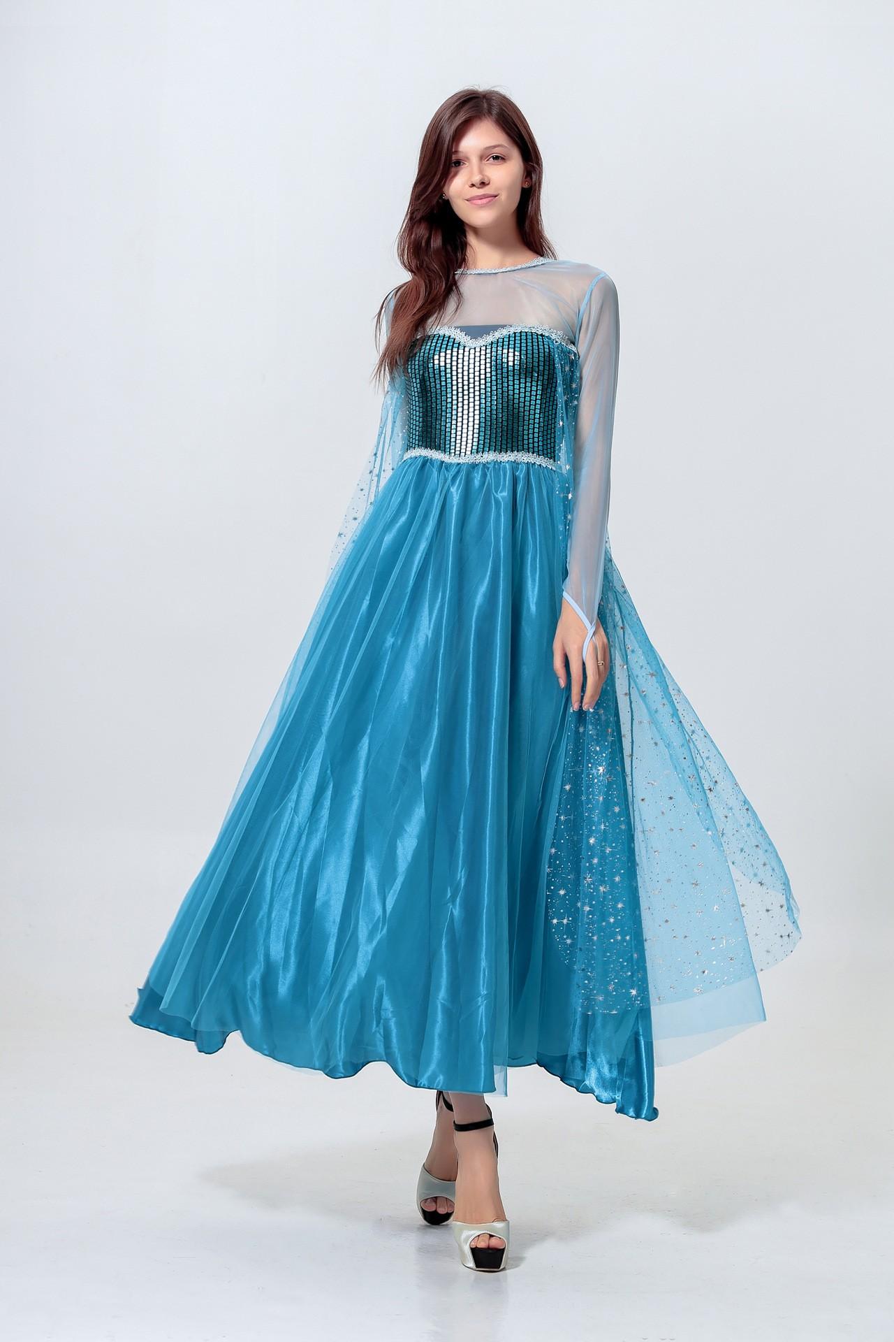 ec77b2d30b3c Paillet Frost Prinsesse Elsa Kjole Voksne