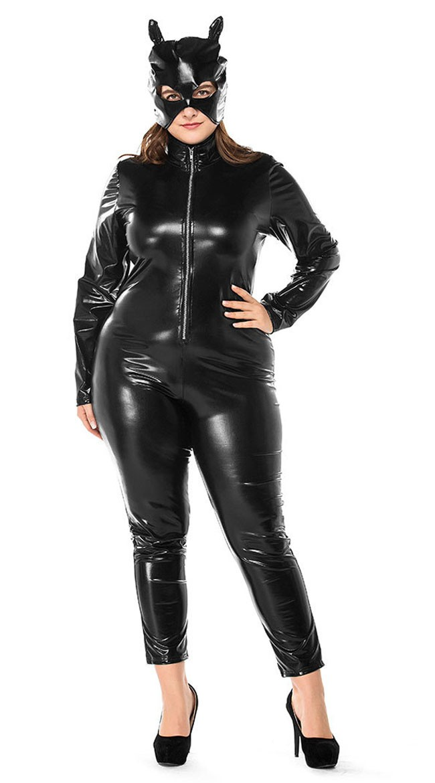 Våd Look Lynlås Foran Catwoman Kostume Store Størrelser