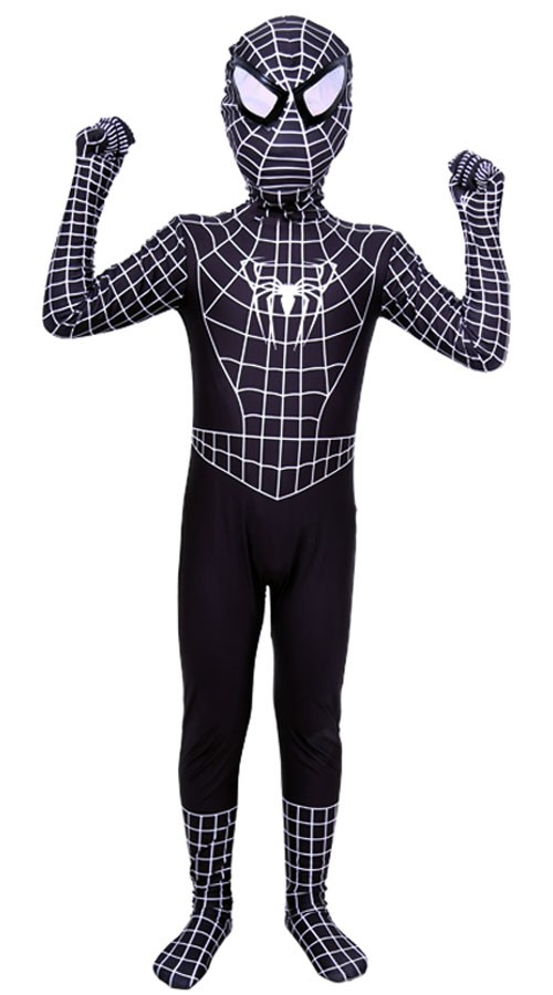 sort spiderman kostume