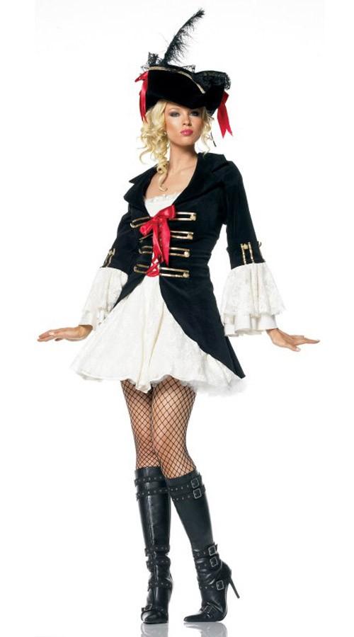 Sort Kaptajn Swashbuckler Pirat Kostume til Voksne