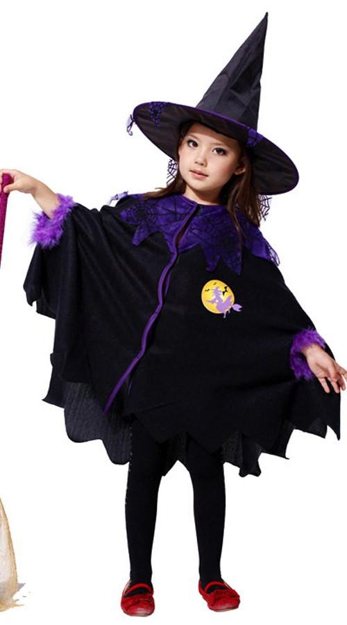 Børn Mørk Hekse Kostume Halloween Kappe