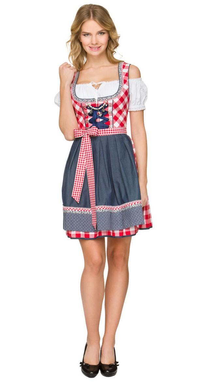 Tyroler Kostume Oktoberfest Mini Dirndl Kjole Rød