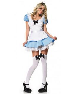 Blå Og Hvid Disney Alice i Eventyrland Kostume