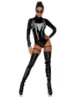 PU Spidergirl Kostume Halloween Bodysuit Langærmet Sort