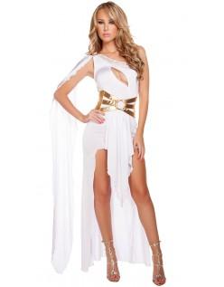 Hvid Græsk Gudinde Kostume Lang Kjole