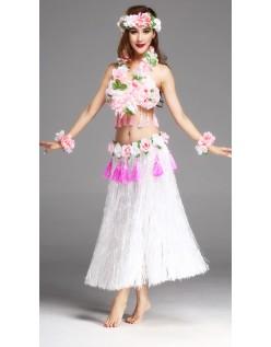 Hula Skørt Hawaii Kostume til Kvinder Hvid Sæt 80cm