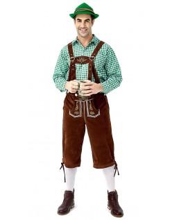 Tyrolerkostumer Traditionelle Bayernbukser Tyrolerskjorte Lederhosen Grøn Brun