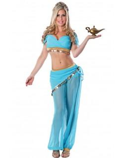 Frække Genie Mavedanser Kostume Blå