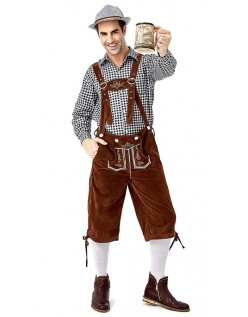 Tyrolerkostumer Traditionelle Bayernbukser Tyrolerskjorte Lederhosen Sort Brun