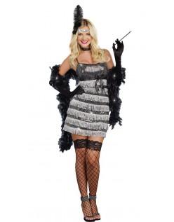 20 er Sølv Frynse Flapper Charlston Kostume