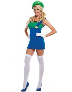 Super Mario Sexet Grøn Blikkenslager Kostume Dame