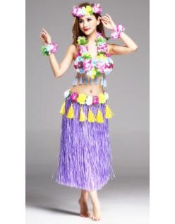Hula Skørt Hawaii Kostume til Kvinder Lilla Sæt 80cm