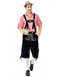 Tyrolerkostumer Traditionelle Bayernbukser Tyrolerskjorte Lederhosen Rød Sort