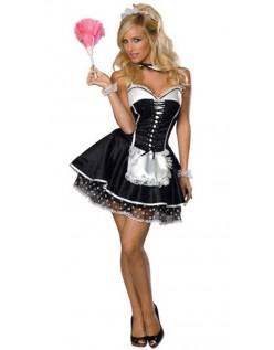 Frække Rygløs Fransk Stuepige Kostume