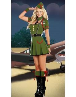 Grønne Stjerner Militær Army Kostume