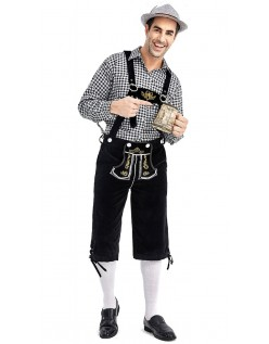 Tyrolerkostumer Traditionelle Bayernbukser Tyrolerskjorte Lederhosen Sort Sort