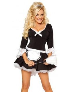 Frække Victorian Sort Korset Stuepige Kostume