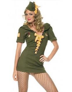 Frække Pin Up Kadet Army Kostume Gul