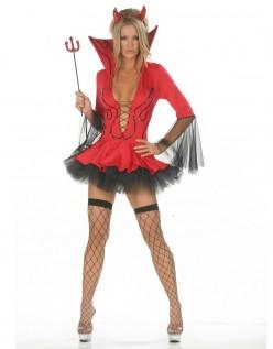 Dyb V-Hals Rød Halloween Djævel Kostume