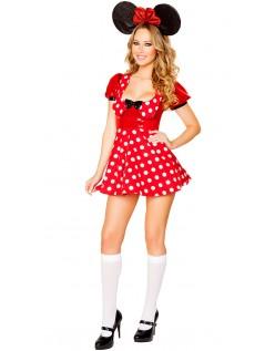 Rød Polka Dot Minnie Mouses Kostume