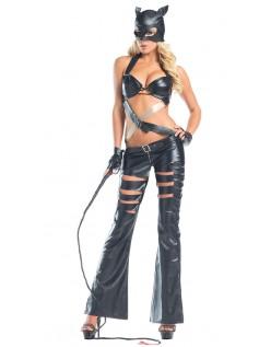 Sort Cutout Frække Catwoman Kostume