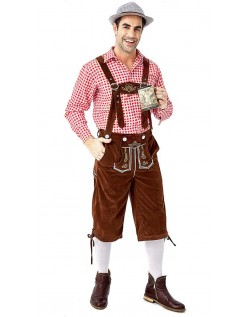 Tyrolerkostumer Traditionelle Bayernbukser Tyrolerskjorte Lederhosen Rød Brun