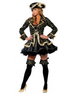 Cool Sort Akryl Pirat Kostume Dame