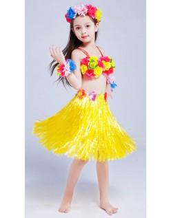 Hula Skørt til Børn Hawaii Kostume Gul Sæt 40cm