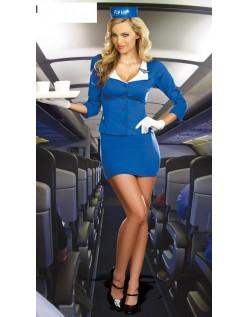 Blå Klassisk Pilot Stewardess Kostume