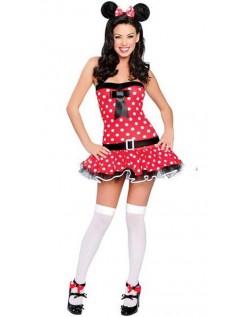 Rød Prikkede Minnie Mouses Kostume Til Voksne