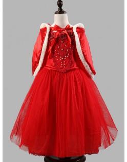 Vinter Eventyr Prinsesse Kjole Rød Børn