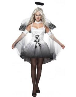 Hvid Mørk Engle Kostume Til Halloween