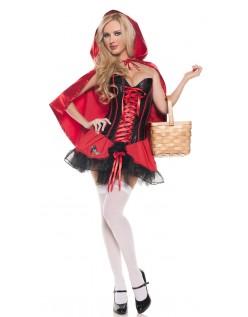 Halloween Satin Korset Rødhætte Kostume