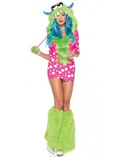 Dot Print Monster Kostume Lyserød Og Grøn