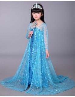 Sequin Frozen Elsa Prinsessekjole til Børn