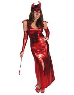Rød Lang Halloween Djævel Kostume