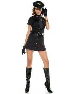 Frække Sort Kaptajn Pige Politi Kostume