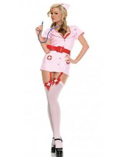 Frække Pink Sygeplejerske Kostume Med Strømpebukser