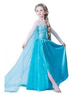 Dronning Elsa Frost Kjole Børn Paillet Blå