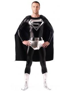 Skinnende Metallisk Superman Kostume Sort Og Hvid