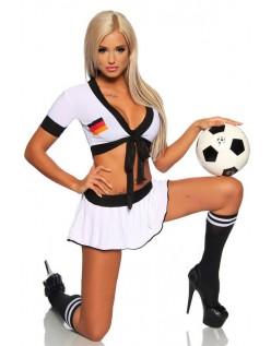 Tysk Pige Fodbold Cheerleader Kostume