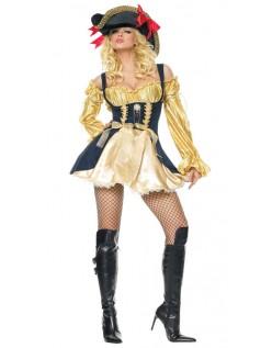 Gul og Sort Frække Pirat Kostume Kvinder