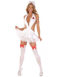Hvid Sexet Sygeplejerske Kostume