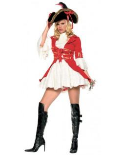 Rød Frække Kaptajn Pirat Kostume til Voksne