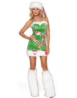 Lysegrøn Juletræ Nissepige Kostume