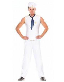 Hvid Sexy Navy Sailor Kostume Til Mænd
