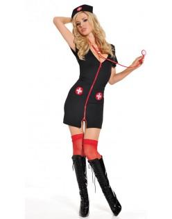 Sort Frække Nat Sygeplejerske Kostume Til Voksne