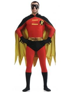 Lycra Spandex Robin Kostume Rød Og Sort