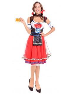 Tyroler Oktoberfest Kostume Mellemlang Rød